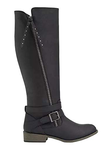Riding Combat Boots Buckle Chunky Calf black Boots High Z Womens Strappy Ermonn Knee Winter Wide 1xqttP