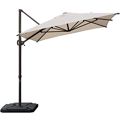 Abba Patio Offset Cantilever 9 by 7-Feet Rectangular Patio Hanging Umbrella with Cross Base, Cream