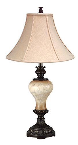 Cal Lighting BO-731TB Resin Table Lamp with Silk Shade, 150-watt, Antique - Cal Wood Lamp Lighting Table