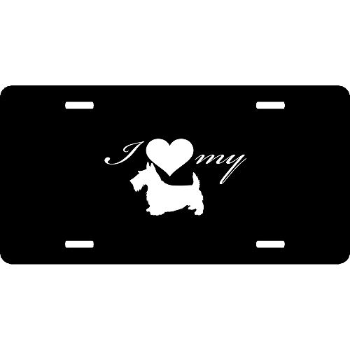 I Love My Terrier Dog Silhouette Heart Customized License Plate Cover, Decorative Front License Plate, Aluminum Metal Vanity Car Tag Sign 12