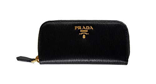 Prada Portachiavi Ganci Nero Black Vitello Move Leather Keyholder Wallet 1PG604