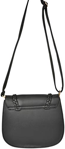 Hardware Cross Bag Gold Faux Harbor Sag Tone 2 Casual with Leather Body Black BxIv8wqZ