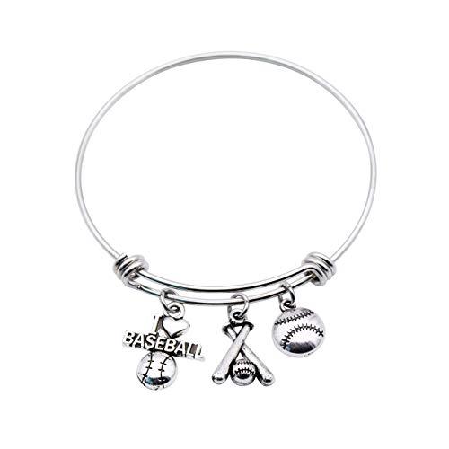 - DDRICH Baseball Bracelet Base Ball Charm Bangle Ball Sports Jewelry Baseball Mom Gift (Baseball)