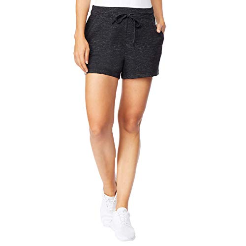 (32 DEGREES Ladies' Fleece Short (L, Black Space Dye))