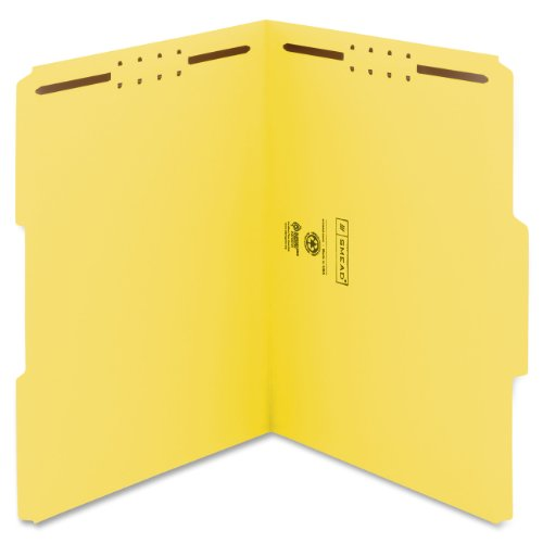 Smead Fastener File Folder, 2 Fasteners, Reinforced 1/3-Cut Tab, Letter Size, Yellow, 50 per Box (12940) ()
