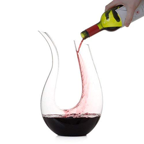 - Momstir Wine Decanter U-Shaped Horn Design Carafe 1750ml Hand Made Crystal Wine Aerator with Dual Head Modern Oxidizer - Gift for Wine Lovers