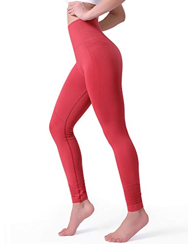 POSHDIVAH Yoga Pants for Women High Waisted Tummy Control Non See Through Workout Leggings Tomato Red Medium