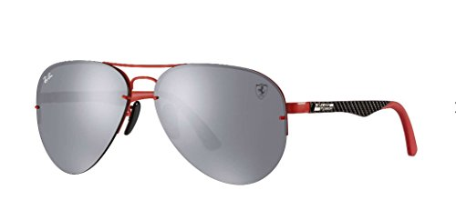 Ray-Ban Men's 0rb3460mf0126g59metal Man Non-Polarized Iridium Aviator Sunglasses, Red, 59 - Red Ban Ray Aviator Glass