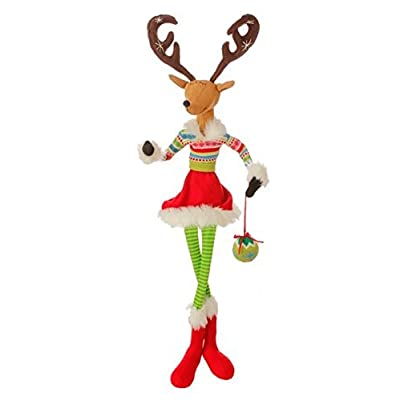 """Raz 36\"""" Merry & Bright Plush Sitting Reindeer Christmas Decoration with Adjustable Arms and Antlers: Toys & Games [5Bkhe1305890]"""