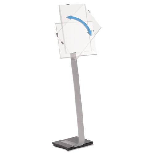 Info Sign Duo Floor Stand, Tabloid-Size Inserts, 15 X 44 1/2, Clear By: Durable