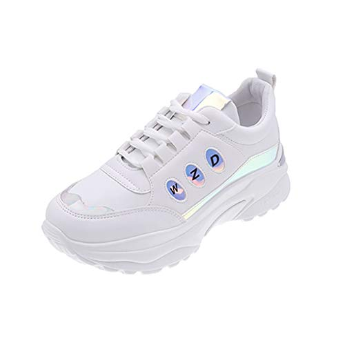Dainzuy Sneaker for Women Wide Width Lace Up Mix Color Shiny Breathable Soft Wedge Thick Bottom Sneakers Silver
