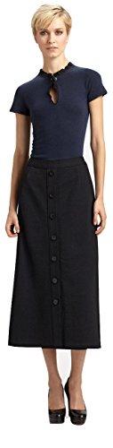 Elie Tahari Wool Skirt - Elie Tahari Women's Ava Wool-Blend Button-Front Midi Skirt in Black Size 0