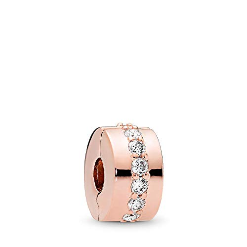 PANDORA Shining Path Clip Charm, PANDORA Rose, Clear Cubic Zirconia, One Size
