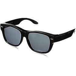 Solar Shield Hollywood Blvd Polarized Wayfarer Sunglasses, Black, 54 mm