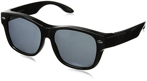 Solar Shield Hollywood Blvd Polarized Wayfarer Sunglasses, Black, 54 - Fits Sunglasses Shield Solar Over