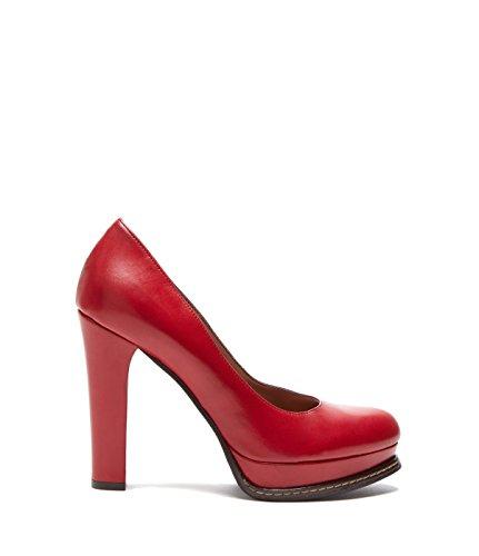 Poi Lei PoiLei Alessia - Damen-Schuhe/Exklusive Plateau-Pumps Aus Echt-Leder - Elegante High-Heels mit Block-Absatz - Rot