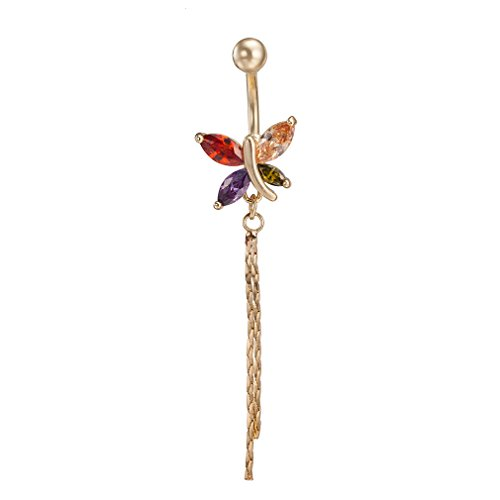 KIMING Crystal CZ Butterfly Dangle Ball Barbell Bar Belly Button Navel Ring Body Jewelry,Hypoallergenic(Colorful) ()