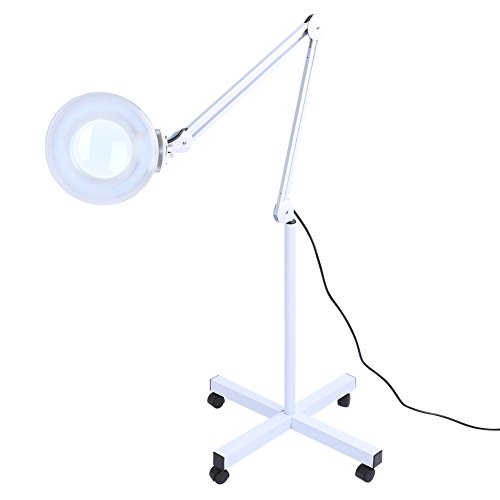 5X LED Magnifier Lamp Light with Rolling Floor Stand,Adjustable Swivel Arm Floor Mag Light for Beauty Salon Spa