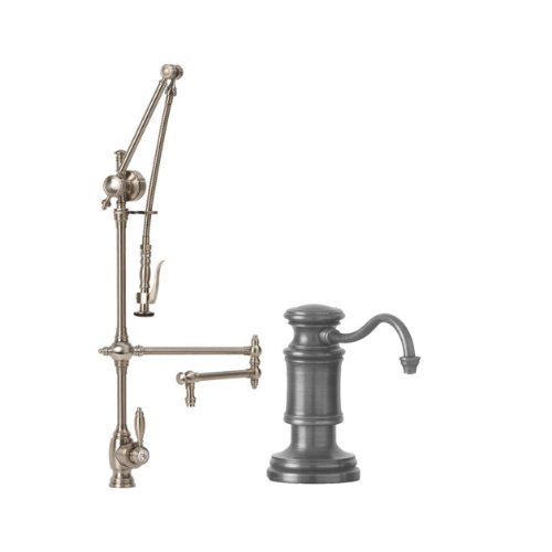 Waterstone 4410-18-2-PN Towson Kitchen Faucet Single Handle with 18-Inch Articulated Spout, Pull Out Spray and Soap/Lotion Dispenser, ()
