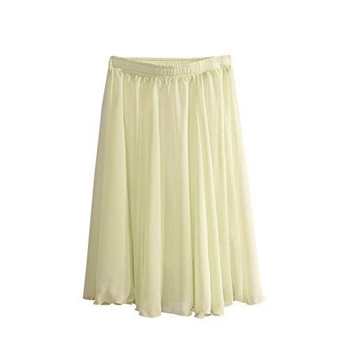 MISSMAO Jupe Femmes Fille Midi Taille Haute Vintage lgante Jupe Basique Plisse Patineuse Elastique Pliss Casual Cocktail Vert Clair
