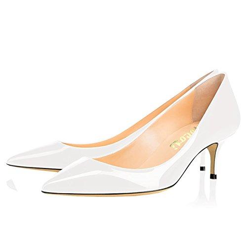 Toe Closed Women's Dress Pumps Low Heel Kitten Heels VOCOSI Shoes White Daily SOH5wq5En