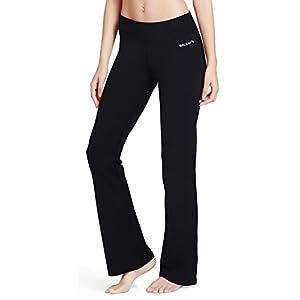 Baleaf Women's Yoga Bootleg Pants Inner Pocket Black Size L