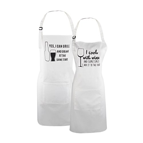 Personalized Kitchen Aprons (Fodiyaer Aprons for Couples, I Cook with Wine and I Can Grill and Drink at The Same Time Aprons With Pocket for Wedding Engagement Anniversary Gift)