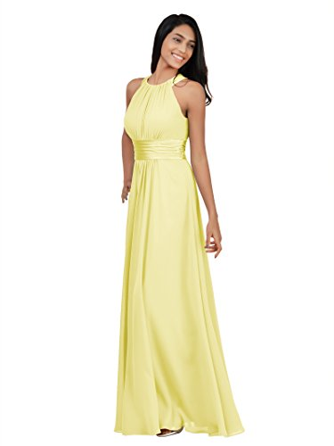 - Alicepub Sleeveless Bridesmaid Dresses Long for Women Formal Elegant Halter Evening Dresses for Weddings Empire Maxi Party Prom Gown, Yellow, US12