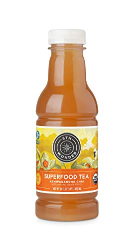 - 8th Wonder Organic Ashwagandha Chai Tea, All Natural, Low Calorie Superfood Iced Tea |Ashwagandha Apple Chai Tea | 16 Fluid Ounce Bottled Tea Pack of 6 | Uplift Energy, Reduce Stress