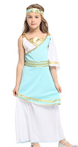 Kalanman Kids Girls Halloween Costume Arabian Princess Dress Up (L(Fit for 7-9 Age), Blue White) -