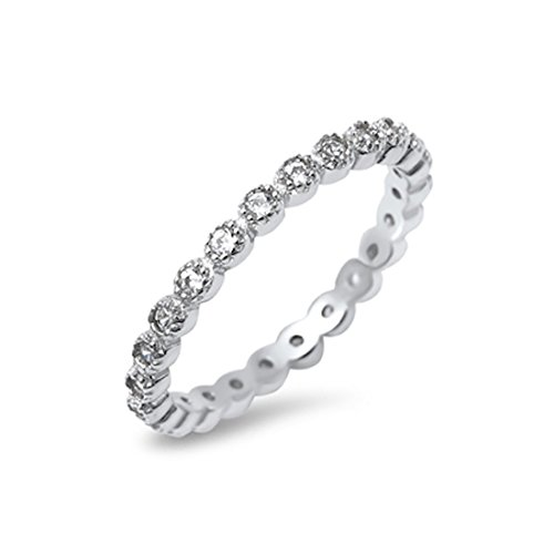 Cubic Zirconia Stackable Ring - 3MM Full Eternity Stackable Ladies Wedding Engagement Band Ring Cubic Zirconia Round 925 Sterling Silver
