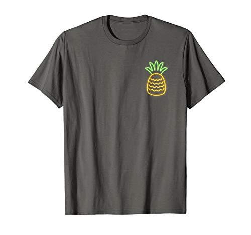 80s Retro Neon Sign Aloha Pineapple Pocket Shirt. 80s Gift