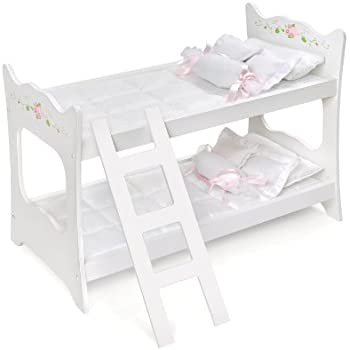 Amazon Com Badger Basket White Rose Doll Bunk Bed Fits American