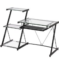 Z-Line Nero Desk and Bookcase - Glass Metal Desk