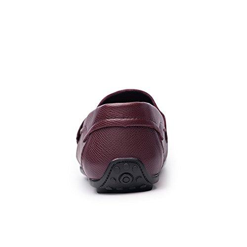 On Vino Piatto Casual Mocassini Traspirante Slip Pelle Scarpe Walking Rosso Mano Uomo Ufficio Boss a Fatte q60SPq