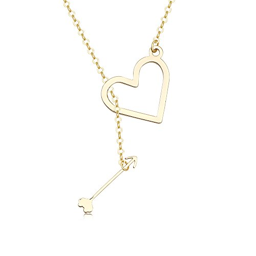 NOUMANDA Exquisite Design Fashionable Heart and Arrow Lariat Pendant Necklace,Love Gift for Valentine's Day (Gold)