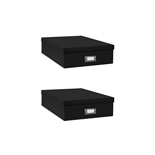 Pioneer Jumbo Scrapbook Storage Box, Black, 14.75 Inch x 13 Inch x 3.75 Inch (Two - Free Paper Scrapbook