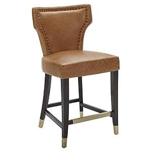 "Amazon Brand – Stone & Beam Counter-Height Barstool with Brass Nailhead Trim, 39""H, Slate"