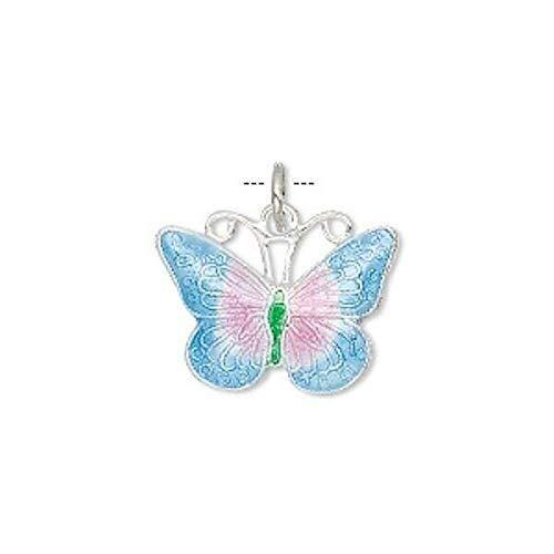 1 Small Purple Blue Butterfly Cloisonne Charm / 19X15Mm