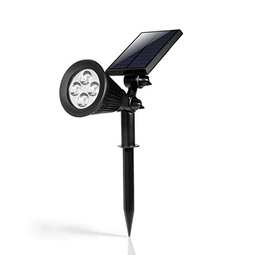 HKYH Color Changing LED Solar Spotlight, Solar Outdoor Wall Light Waterproof, Security Lighting, Path Lights, Landscape Light, Solar Flag Pole Light for Tree, Patio, Deck, Yard, Garden, Pool Area by HKYH