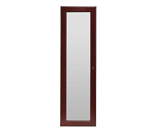 HLC Hochwertiger Schmuckschrank Spiegelschrank Hängeschrank Schmuckkasten aus Holz mit 14.5W x 48H Spiegel Wandspiegel, mit Sperre. Farbe:Espresso -