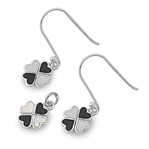 (Heart Clover Earrings Black Onyx Mother of Pearl 925 Sterling Silver Pendant Set)