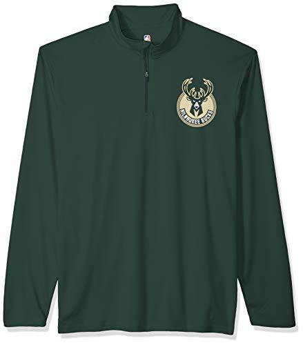 NBA Milwaukee Bucks Men's Quarter Zip Pullover Shirt Athletic Quick Dry Tee, Large, Hunter Green