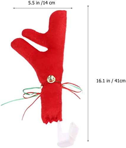 Vehicle Nose Horn Costume Set Christmas Reindeer Antlers with Plush Reindeer Nose Ornaments Christmas Reindeer Antlers Red Nose Set for Car Ornament Truck Accessory