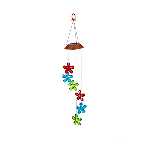 Evergreen Color-Changing Faceted Flowers Solar Mobile ()