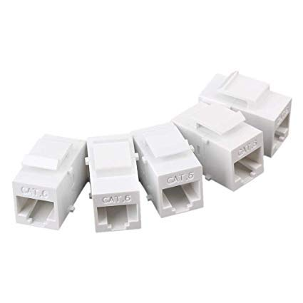(5-Pack) Verbex Cat6 Coupler Jack - [UL Listed] - Coupler Wall Jack - Standard Size - Cat5/5e/6 Compatible - Wall Plate & Patch Panel Compatible
