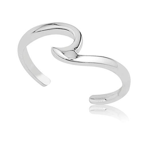 925 Sterling Silver Minimalist Single Swirl Wave Simple Line Open Band Toe Ring, 6 mm