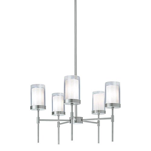 Norwell Lighting 8971-PN-CL Kimberly - Five Light Pendant, Polished Nickel Finish with Clear/White Glass (Kimberly White Finish)
