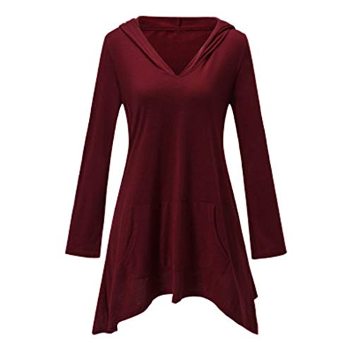 〓COOlCCI〓Women's Pullover Hooded Sweatshirt Long Sleeve V Neck Lrregular Hem T Shirt Thin Tunic Top with Pockets Shirt Wine ()