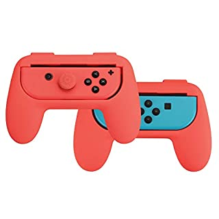 AmazonBasics Grip Kit for Nintendo Switch Joy-Con Controllers - Red
